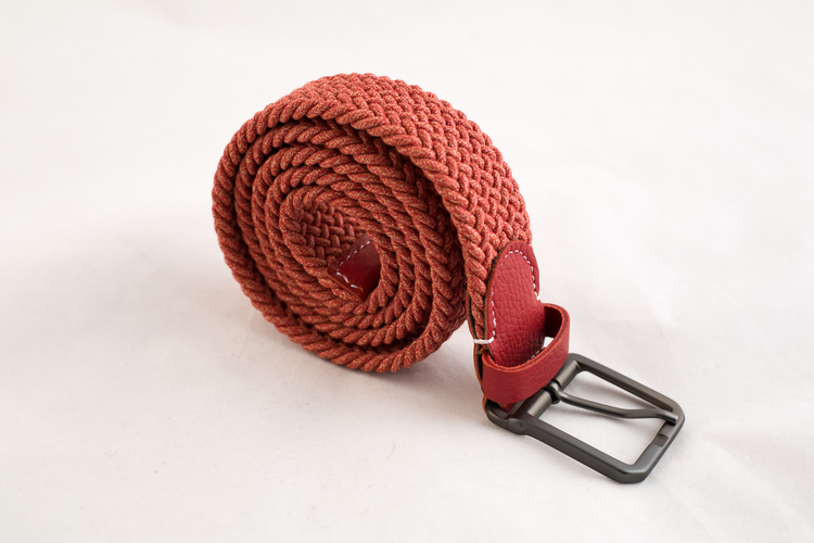 Waxed stretch belt - Orange