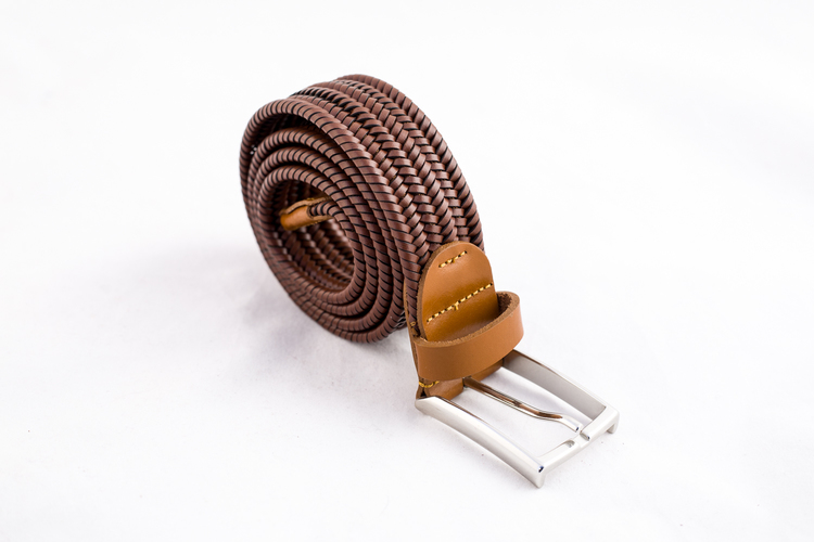 Braided Leather Stretch Belt - Cognac