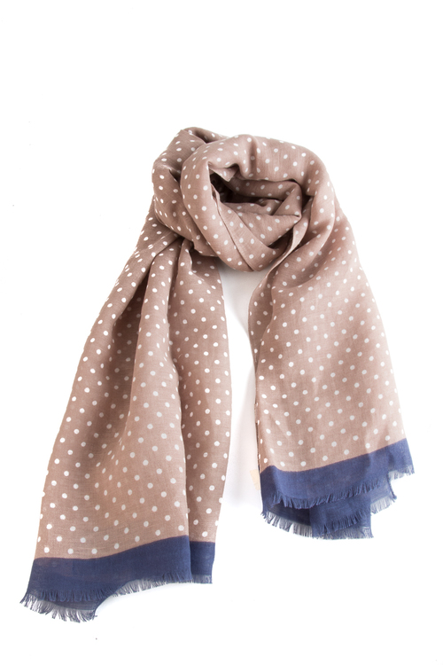 Scarf Polka Dot - Beige/Navy Blue/White