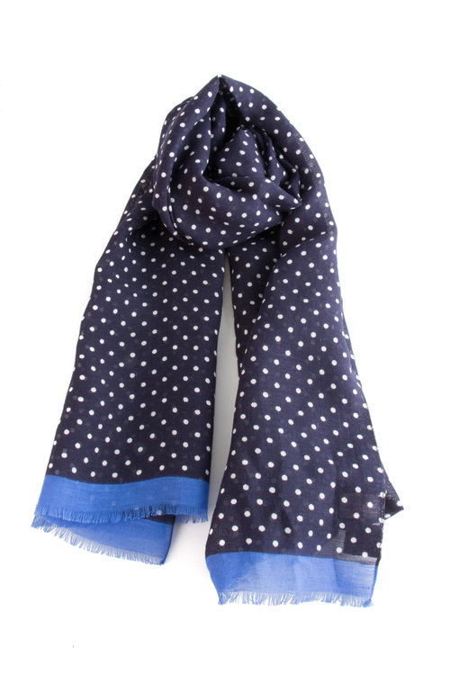 Scarf Polka Dot - Navy Blue/Royal Blue/White
