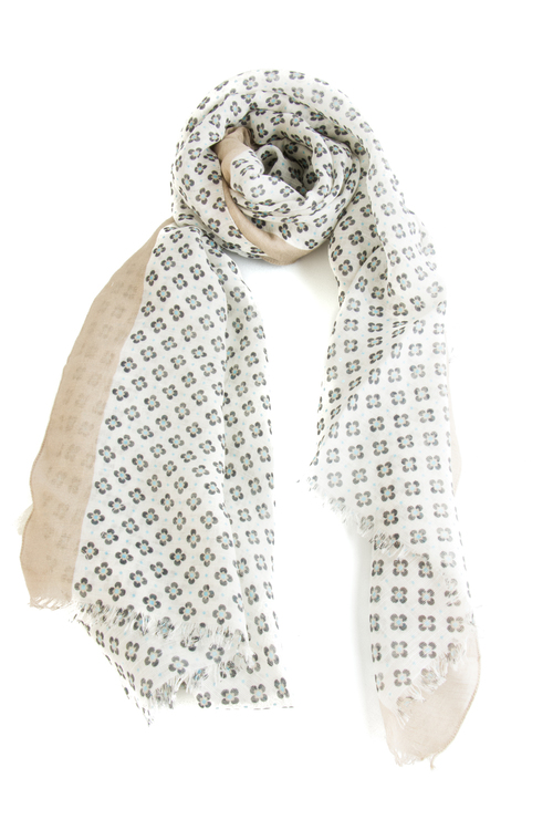 Scarf Floral - Off White/Navy Blue/Turquoise/Beige