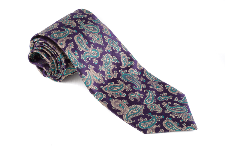 Silk Paisley - Navy Blue/Green/Beige