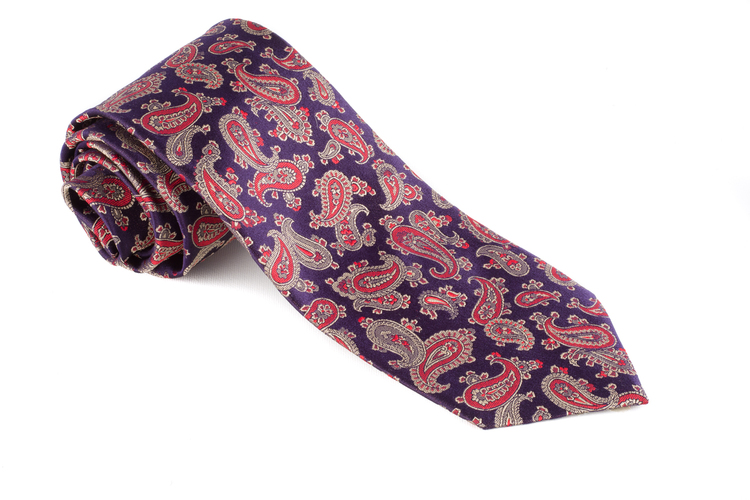 Silk Paisley - Navy Blue/Red/Beige