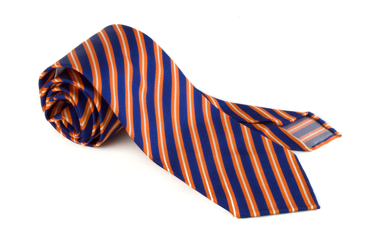 Silk Regimental Untipped - Mid Blue/Orange/White