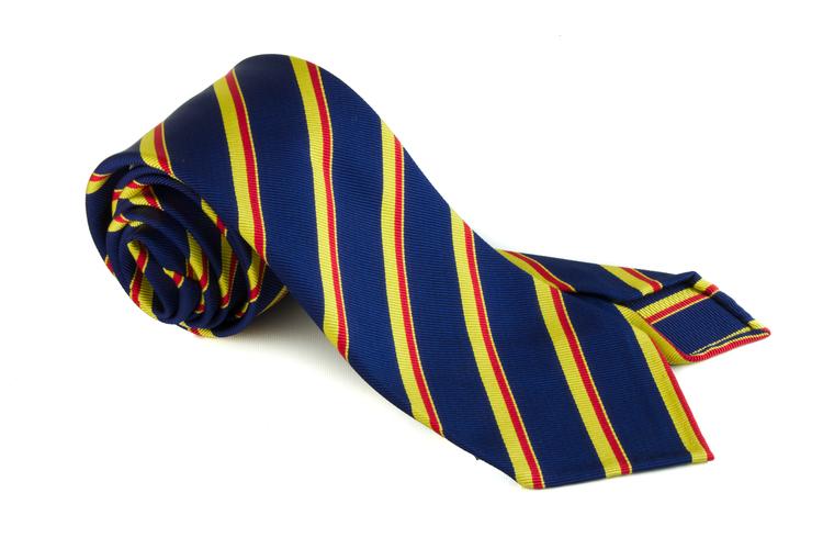 Silk Regimental Untipped - Navy Blue/Yellow/Red