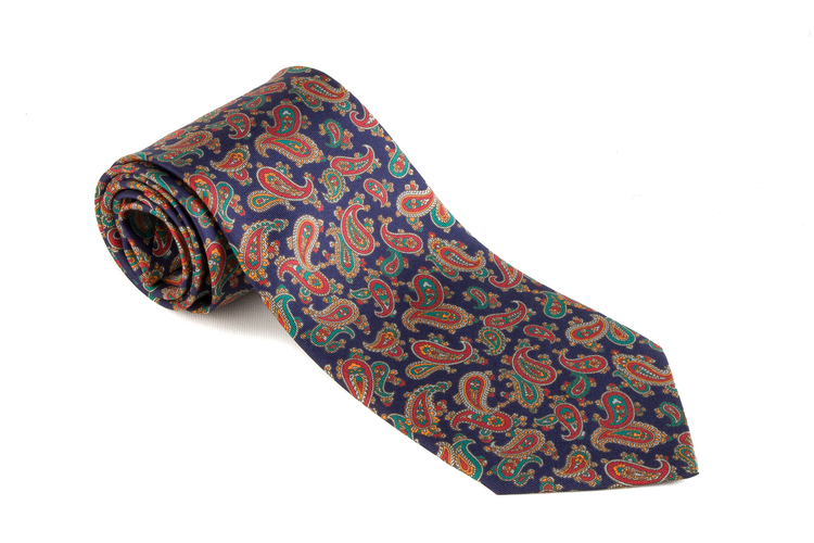 Printed Paisley - Navy Blue/Orange/Green/Red