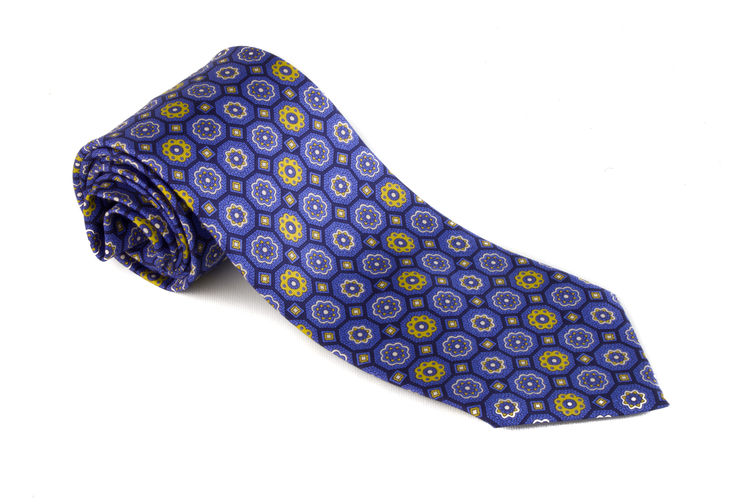 Printed Floral - Navy Blue/Light Blue/Yellow/White