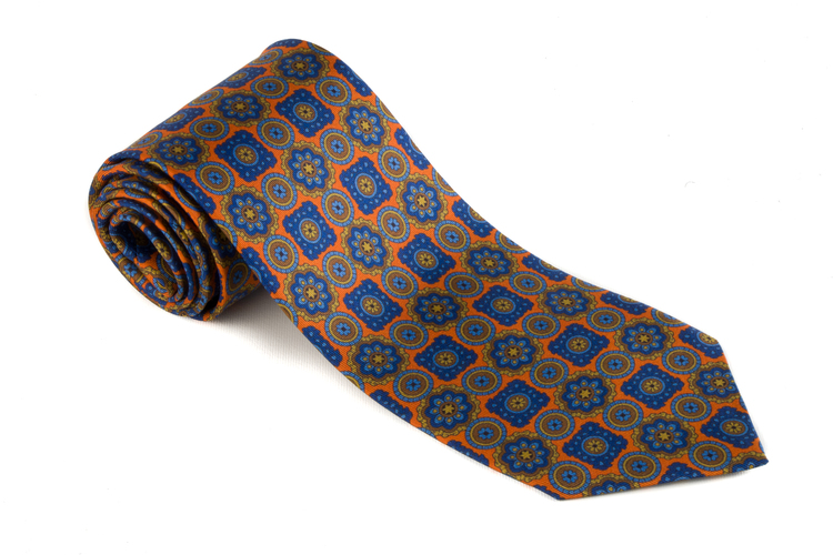 Printed Medallion - Orange/Navy Blue/Mid Blue/Beige