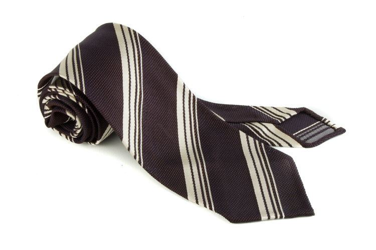 Regimental Silk Grenadine Tie - Untipped - Brown/White
