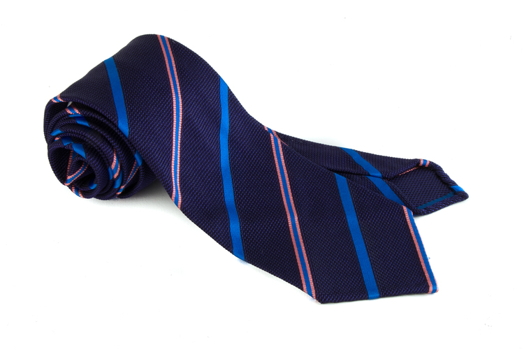 Regimental Silk Grenadine Tie - Untipped - Navy Blue/Cobolt