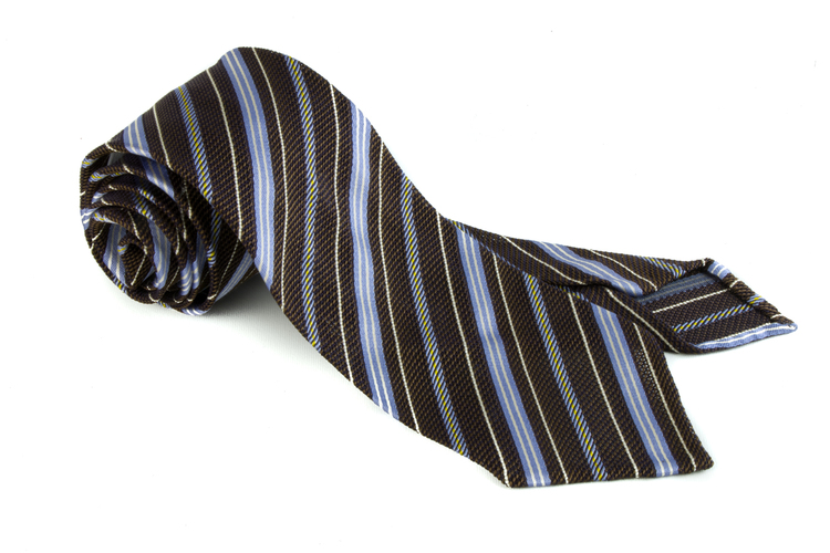 Regimental Silk Grenadine Tie - Untipped - Brown/Light Blue