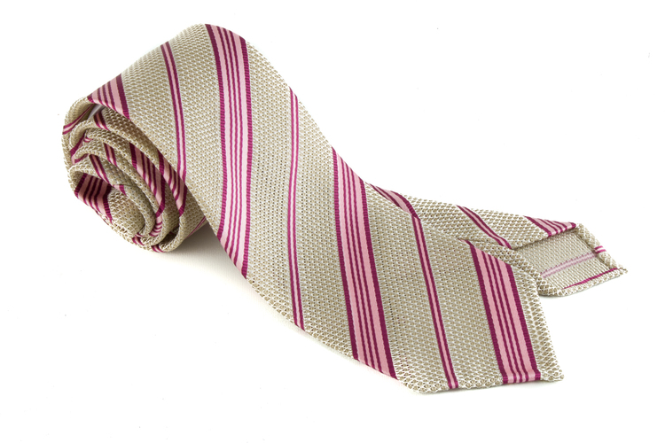 Regimental Silk Grenadine Tie - Untipped - Beige/Pink