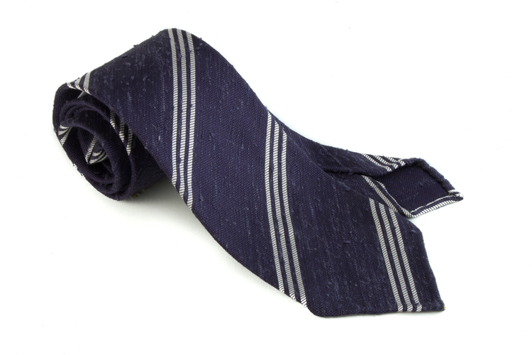 Shantung Regimental Untipped - Navy Blue/White