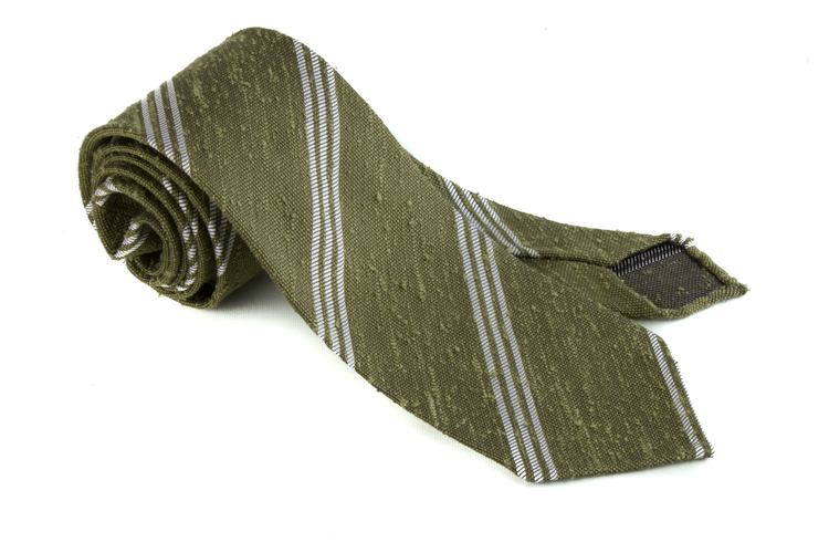 Shantung Regimental Untipped - Olive Green/White