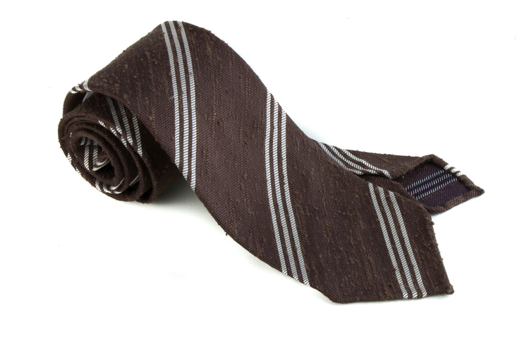Shantung Regimental Untipped - Brown/White