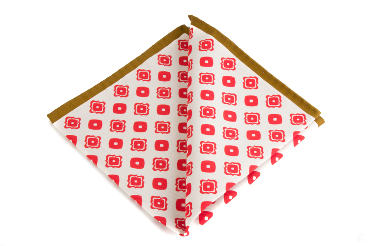 Cotton Squares - White/Red/Beige