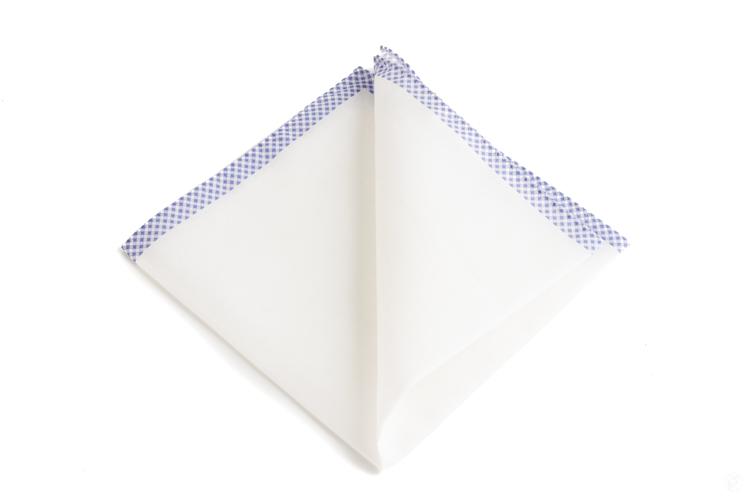 Cotton Shoestring - White/Navy Blue