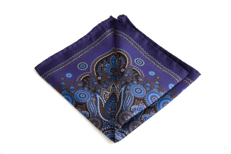 Silk Paisley - Navy Blue/Brown/Light Blue/White