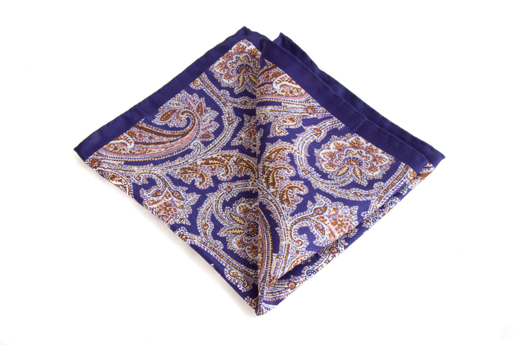 Silk Paisley - Navy Blue/Brown/Pink