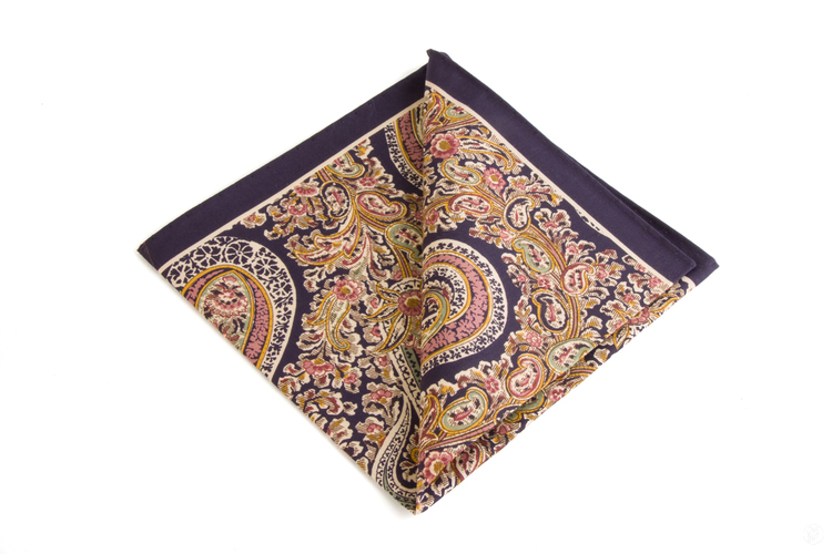 Silk Paisley - Navy Blue/White/Pink/Green/Orange