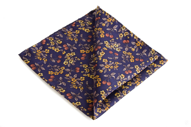 Silk Floral - Navy Blue/Beige/Yellow