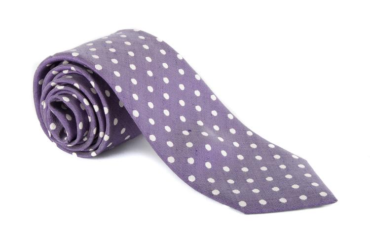 Linen Polkadot - Purple/White