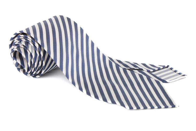 Silk Regimental Untipped - Navy Blue/White