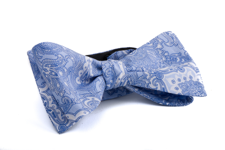 Self tie Paisley Cotton - Light Blue