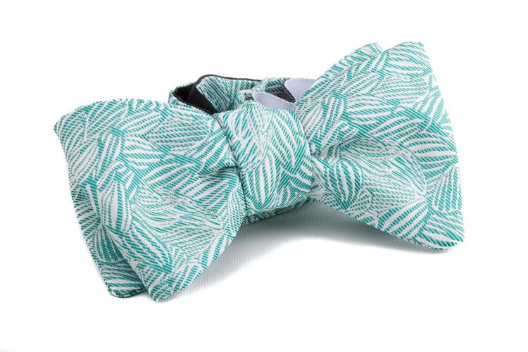 Self tie Floral Silk - Mint/White