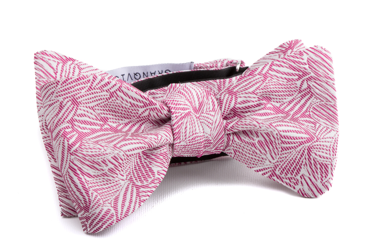 Self tie Floral Silk - Pink/White