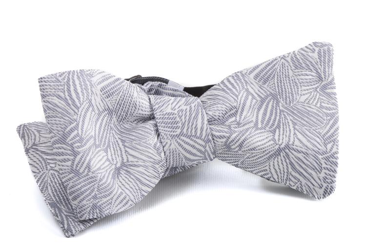 Self tie Floral Silk - Silver/White