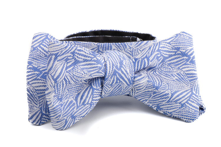 Self tie Floral Silk - Blue/White