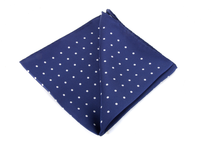 Silk Polka Dot - Navy Blue/White