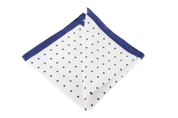 Silk Polka Dot - White/Navy Blue