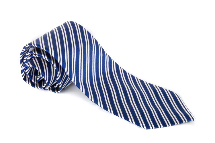 Silk Regimental - Navy Blue/White
