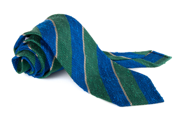 Regimental Shantung Grenadine Tie - Untipped - Green/Mid Blue
