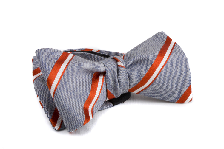 Self tie Silk Regimental - Grey/Orange/White