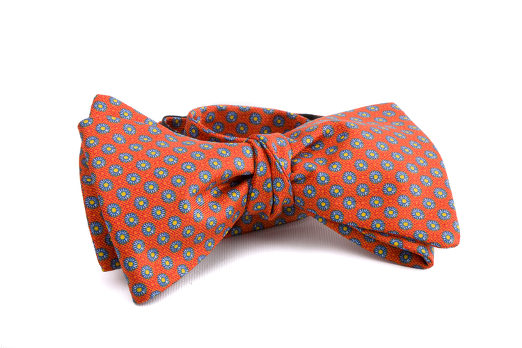 Self tie Silk - Orange/Light Blue