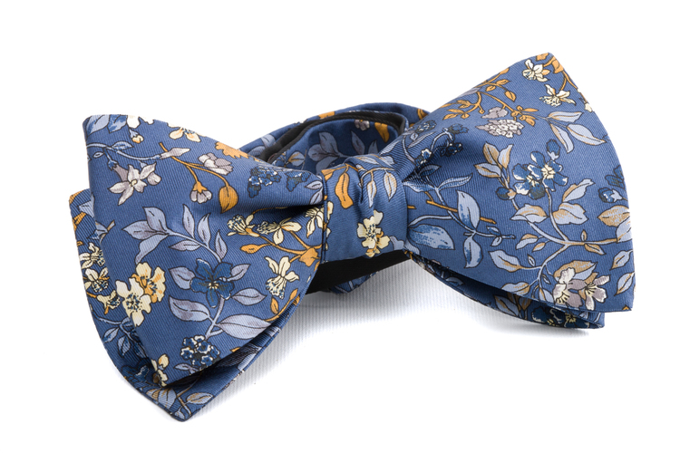 Self tie Silk - Navy Blue/Light Blue/Yellow