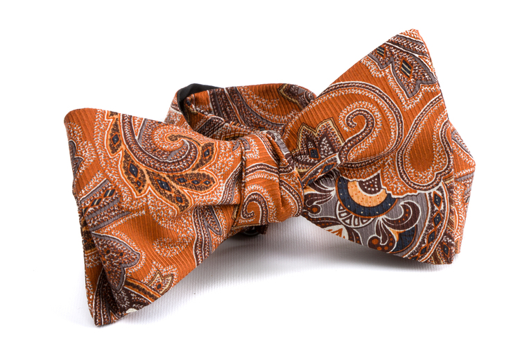 Self tie Silk Vintage - Orange/Blue