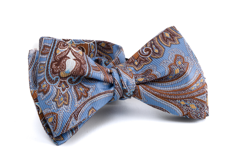 Self tie Silk Vintage - Light Blue/Brown