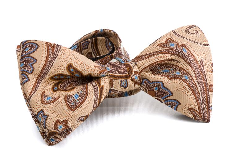 Self tie Silk Vintage - Beige/Light Blue