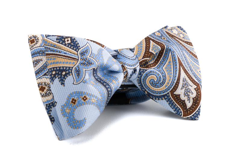 Self tie Silk Vintage - Light Blue/Beige/Brown