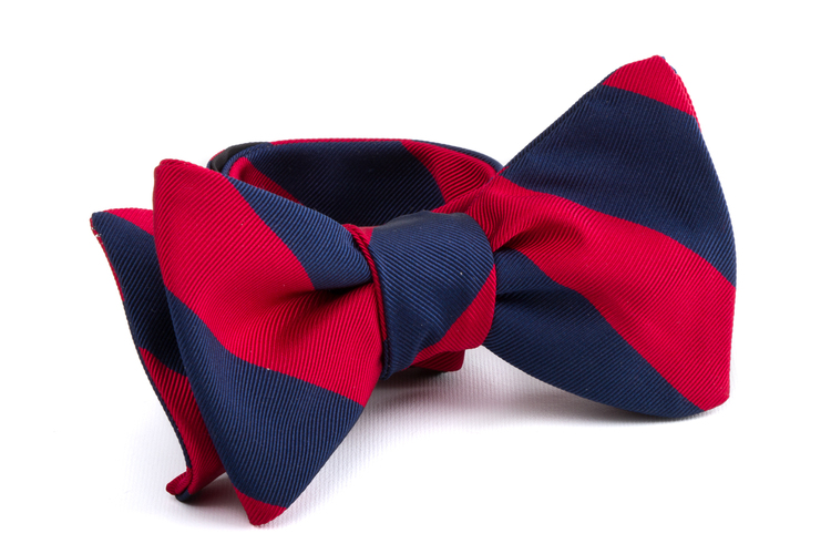Self tie Silk Regimental - Navy Blue/Red