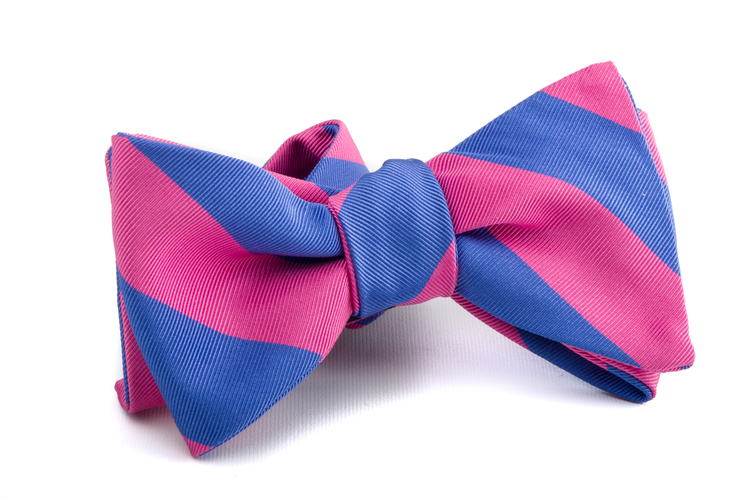 Self tie Silk Regimental - Pink/Light Blue