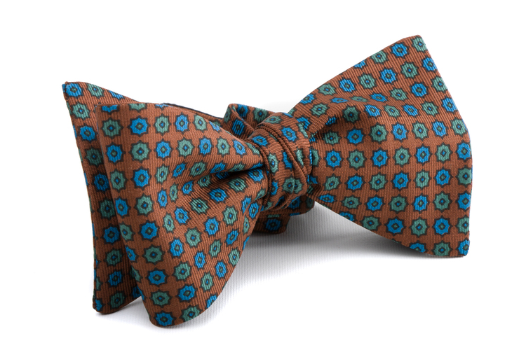 Self tie Silk Polka - Brown/Blue/Green