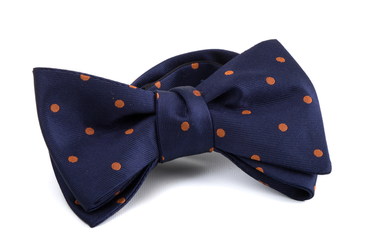 Self tie Silk Polka - Navy Blue/Brown