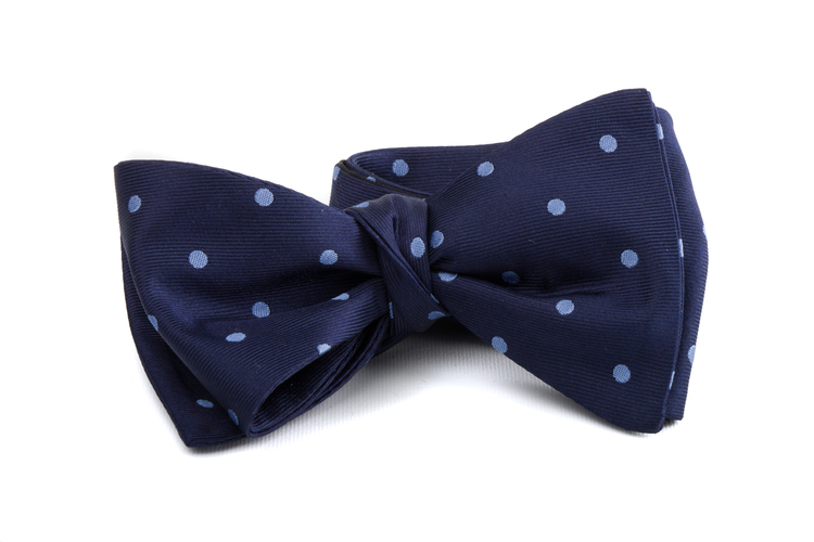 Self tie Silk Polka - Navy Blue/Light Blue
