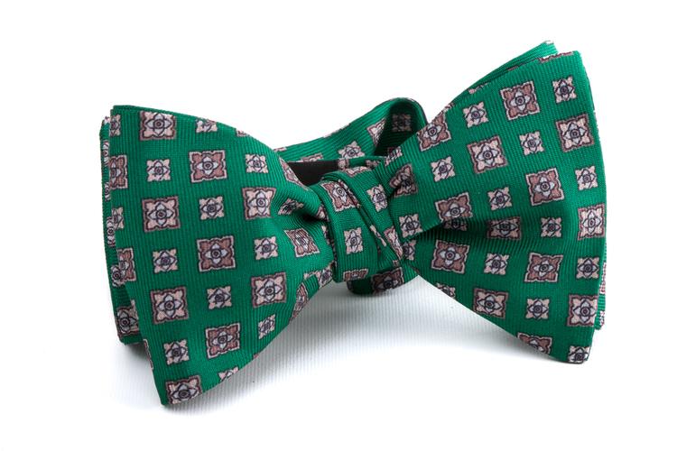 Self tie Silk Floral - Green/Grey