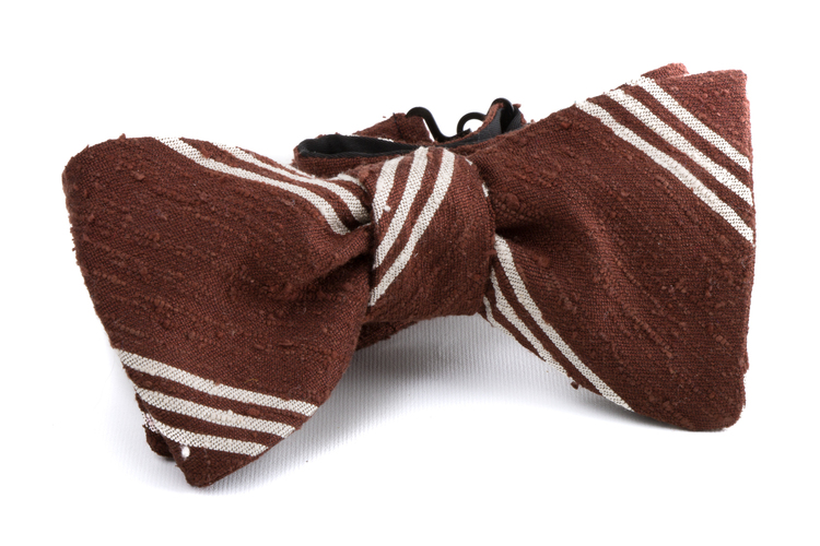 Self tie Shantung Regimental - Brown/White